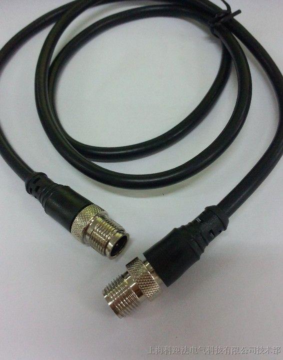 M12双头预制接插件加工 Porfibus现场总线,传感器专用M12双头接插件 螺纹:M12 芯数:产品芯数:3针3孔、4针4孔、5针5孔、6针6孔、7针7孔、8针8孔、12针12孔。