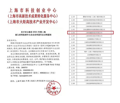 """【喜讯】兆越通讯入库""""上海市2021年第二批科技型企业"""""""
